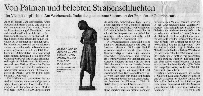 FAZ zum gemeinsamen Saisonstart der Galerien Frankfurt 2017