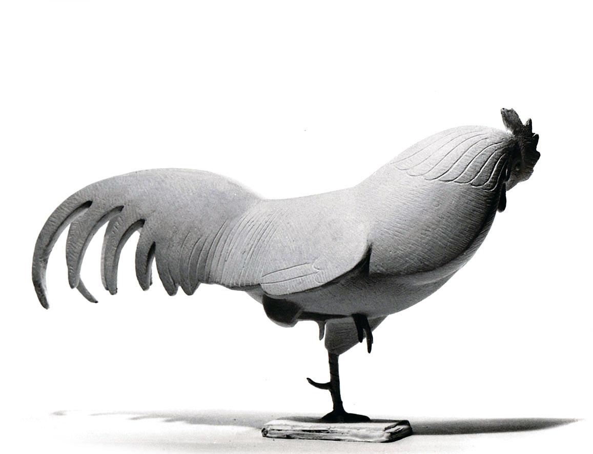 Hahn auf einem Bein verharrend • Gips • 18,5cm • 1961