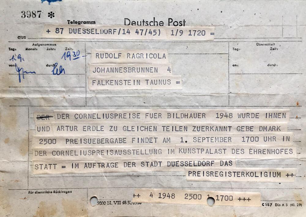 Telegramm über den Erhalt und die Verleihung  des Corneliuspreises • 1948