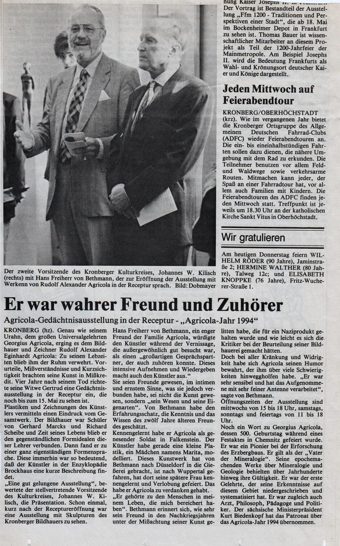 """Agricola Gedächtnisausstellung in der Receptur • """" Agricola-Jahr 1994 """" •  28.04.94 Kronberger Zeitung"""