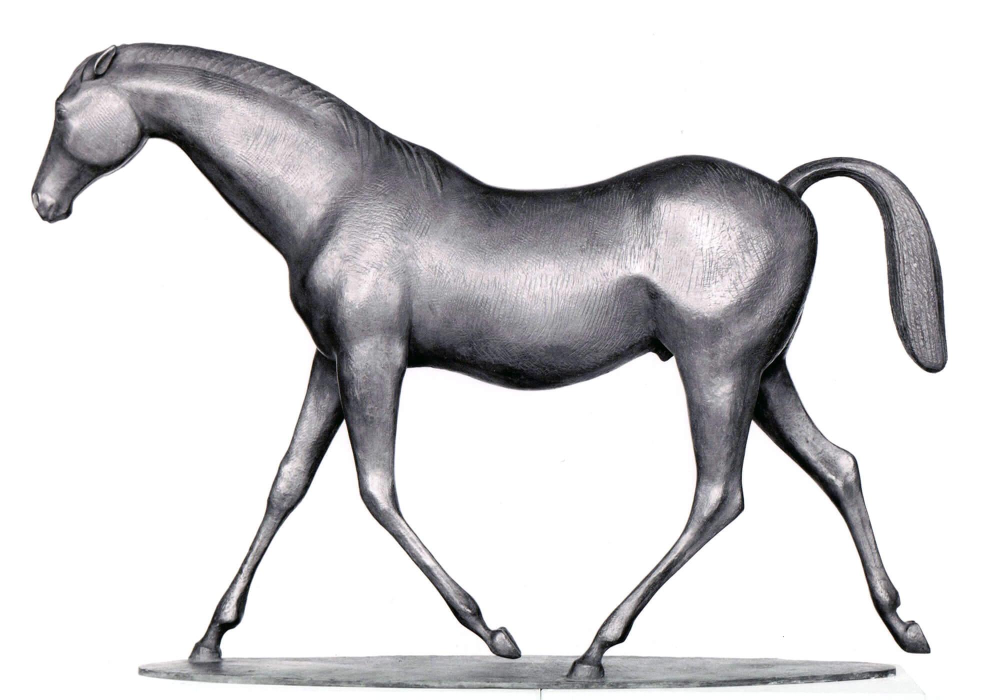 Junger Trakener Hengst im Trab • Bronze • H 63cm • L 89cm • um 1972
