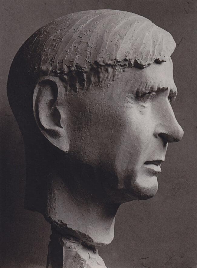 Bildnis Karl Reinhardt • Gips • 37cm • 1962 • Der Bronzeabguss steht in der Goethe Universität Frankfurt • https://www.uni-frankfurt.de/39022393/karl-reinhardt-bueste
