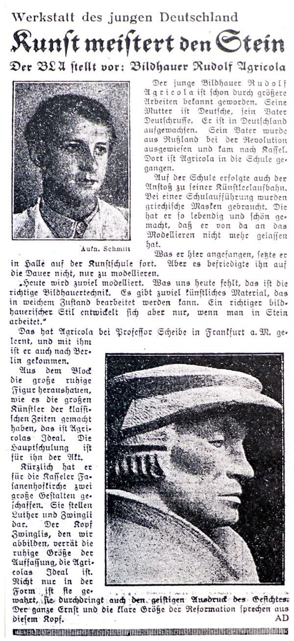 Zeitungsartikel über Agricola und seine Arbeit an der Zwingli Figur